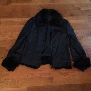 Via spiga rabbit fur trimmed jacket